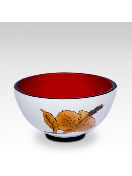 LACQUER BOWL HIBISCUS RED