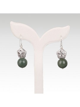 Lotus Fruit And Green Jade Pearl Earring